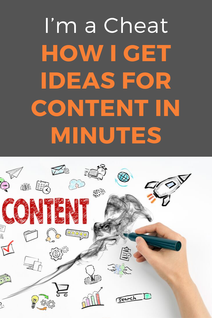 """How do you get so many good ideas for content?"" - I've been asked that question more often than I can count. Here is the answer - I cheat (a bit). And you should too! #contentcreation #blogwriting #blogpostideas #blogpostcreation #contentmarketing #bloggingtips #marketinginminutes"