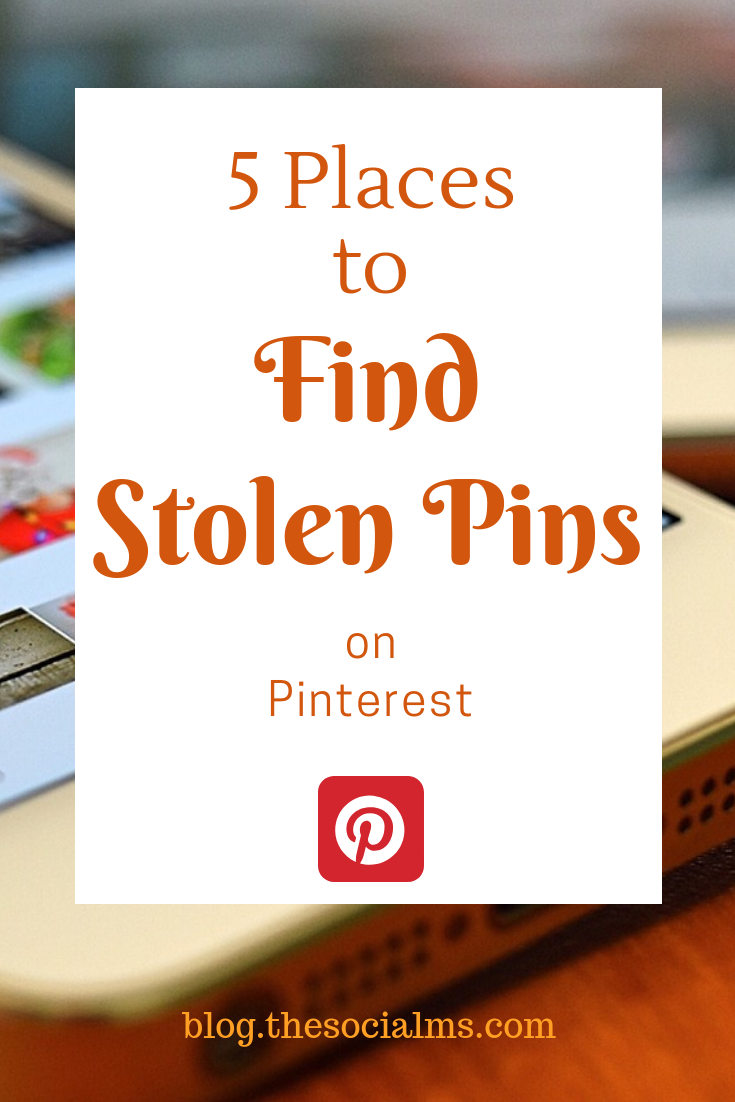 Stolen pins become more and more of a problem. Theycan seriously hurt your business. Here are 5 places you should check for your stolen pins. pinterest marketing, pinterest tips, pinterest strategy, pinterest success, blog traffic #pinterest #pinterestmarketing #stolenpins #pinteresttips