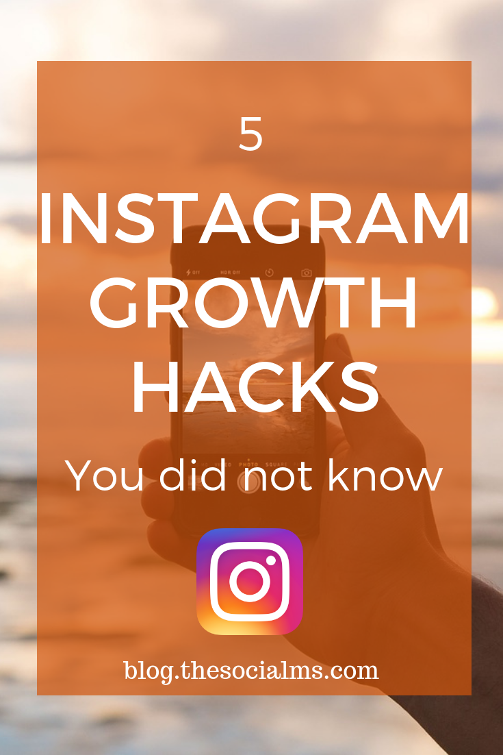 These five Instagram growth hacks, will help you grow Instagram success with a constant stream of new followers. These Instagram tips are even more powerful if combined. #instagram #instagramtips #instagramadvice #instagramstrategy