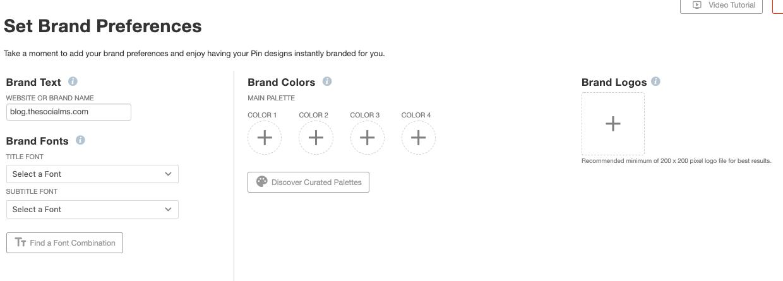 Start creating pins - set brand preferences