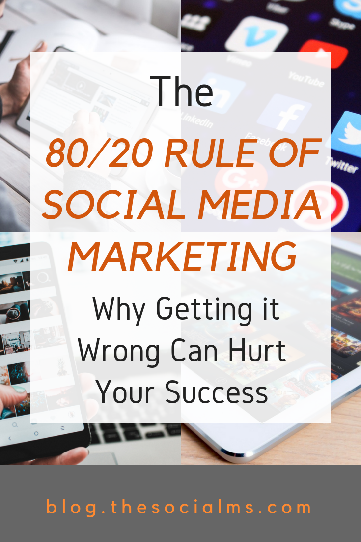 The 80/20 rule of social media marketing is an impportant factor for marketing success. There is a modification of the rule that could hurt your business. Do not buid your social media marketing strategy on the wrong interpretation of good social media advice. #socialmediastrategy #socialmediatips #socialmedia #socialmediasuccess