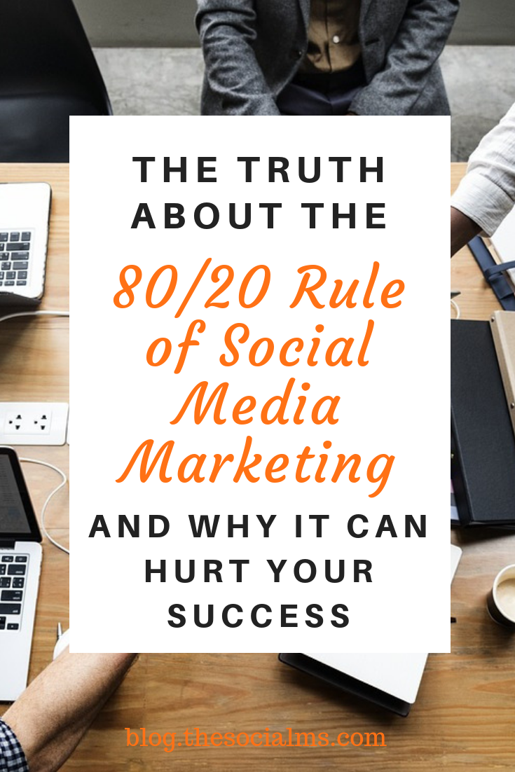 If you are promoting your blog, product or brand via social media, you have probably stumbled across the 80/20 rule of social media marketing. But the chances are high that you have heard this rule all wrong. Here is what you need to know for successful social media marketing. #socialmedia #socialmediatips #socialmediamarketing #digitalmarketing #onlinebusiness #smallbusinessmarketing