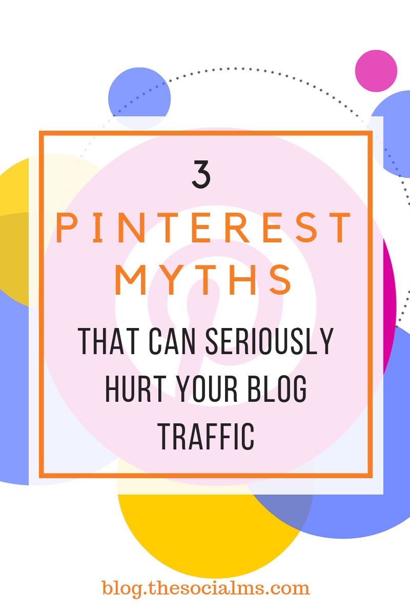 There is so much advice to be found about Pinterest. You have to figure out which advice to follow and which tips rather belong to the category Pinterest myths: Some of the outdated or wrong tips can seriously hurt all your traffic generation efforts. #pinterest #pinteresttips #socialmedia #socialmediamarketing #blogtraffic #trafficgeneration #socialmediatips