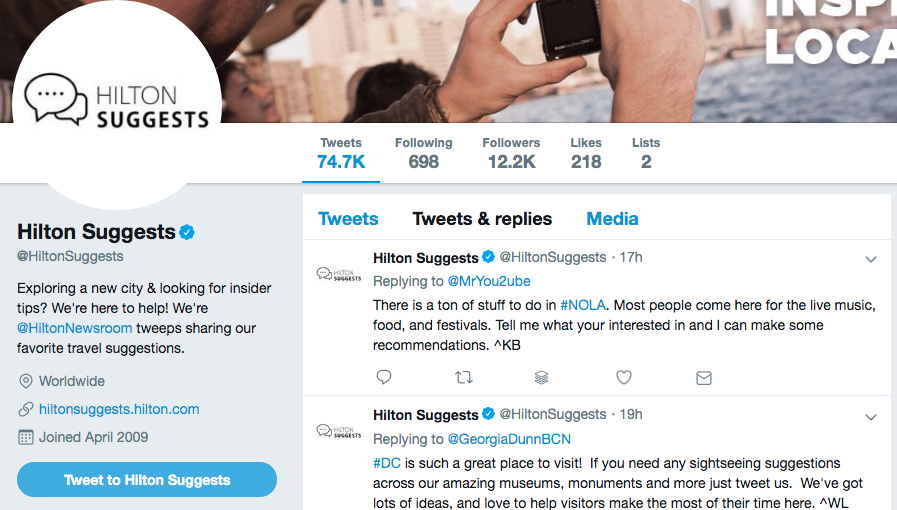 How Hilton uses Twitter to get leads