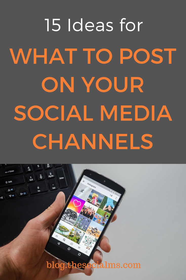 What social media posts will engage and build a relationship with my audience? Here are 15 ideas for what you can post on your social media channels. Keep your audience entertained and engaged with a broad variety of social media updates. #socialmedia #socialmediatips #socialmediamarketing #socialmediastrategy