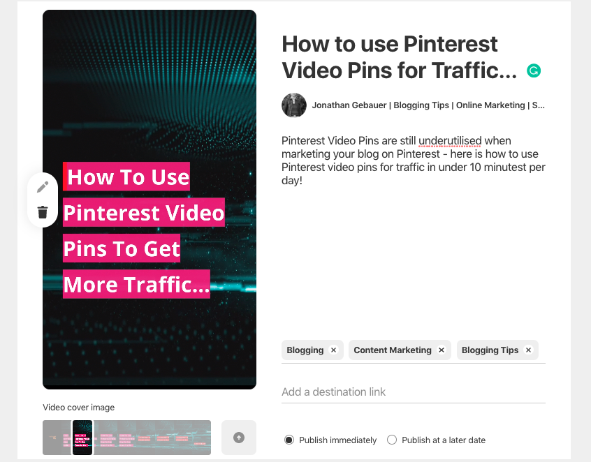 Pinterest Publish Video Pin