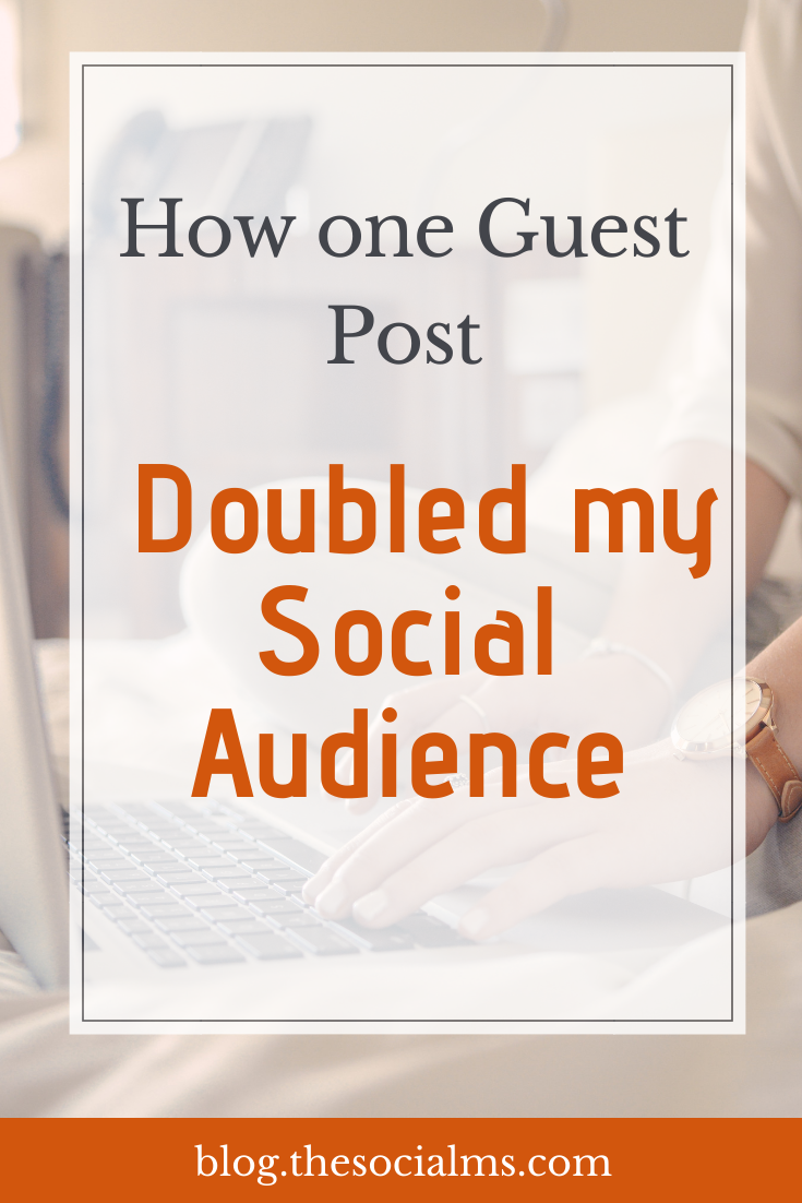 Growing your social media audience through guest blogging is one of the most effective ways when you are starting out. Here is how to use guest posting to grow your social media audience. #guestblogging #bloggingtips #guestposting #blogging101 #bloggingforbeginners #startablog #smallbusinessmarketing #startupmarketing