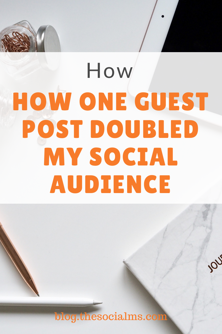 What if I told you you might just be a single guest post away from doubling your followers? Would you believe me? Here is how to double your social media followers with one guest post. #guestblogging #guestposting #bloggingtips #bloggingforbeginners #blogging101 #startablog #socialmedia #socialaudience