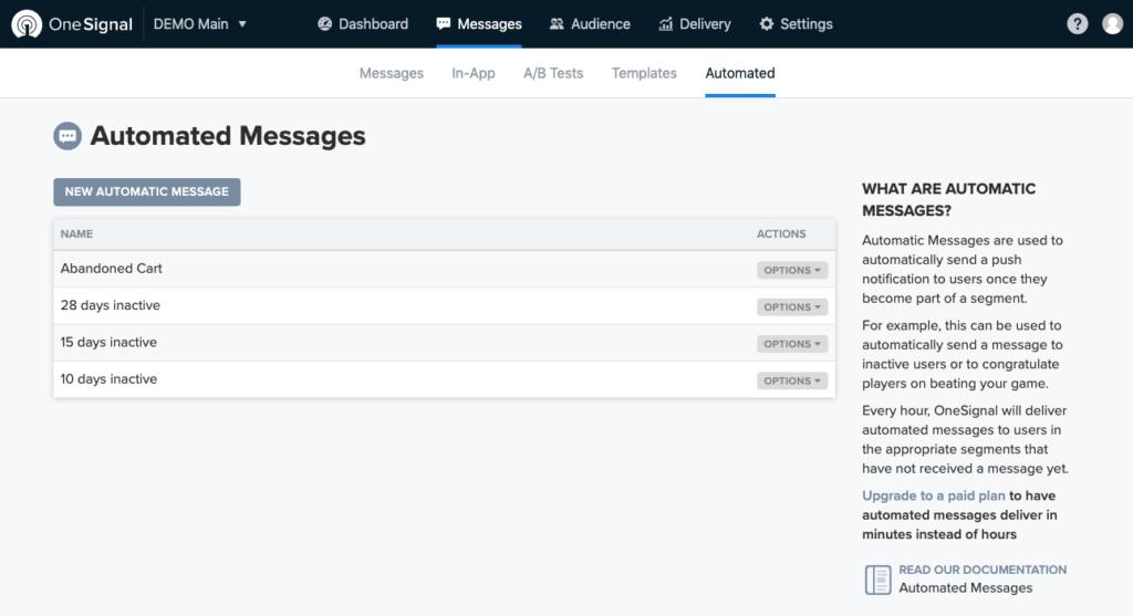 Screenshot OneSignal Automated