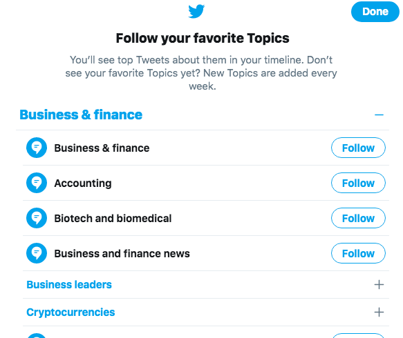 Choose Topics from within your feed