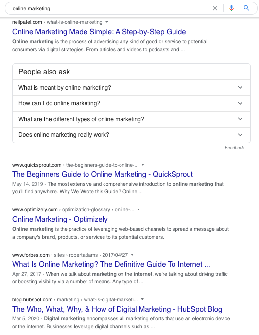 Google Search Online Marketing