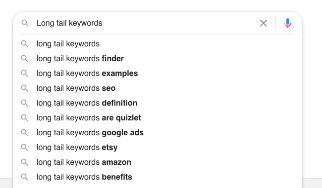 Google Autocomplete Long-tail keywords