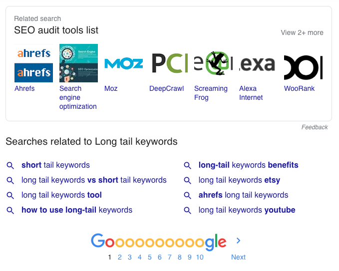 Google related searches long-tail keywords
