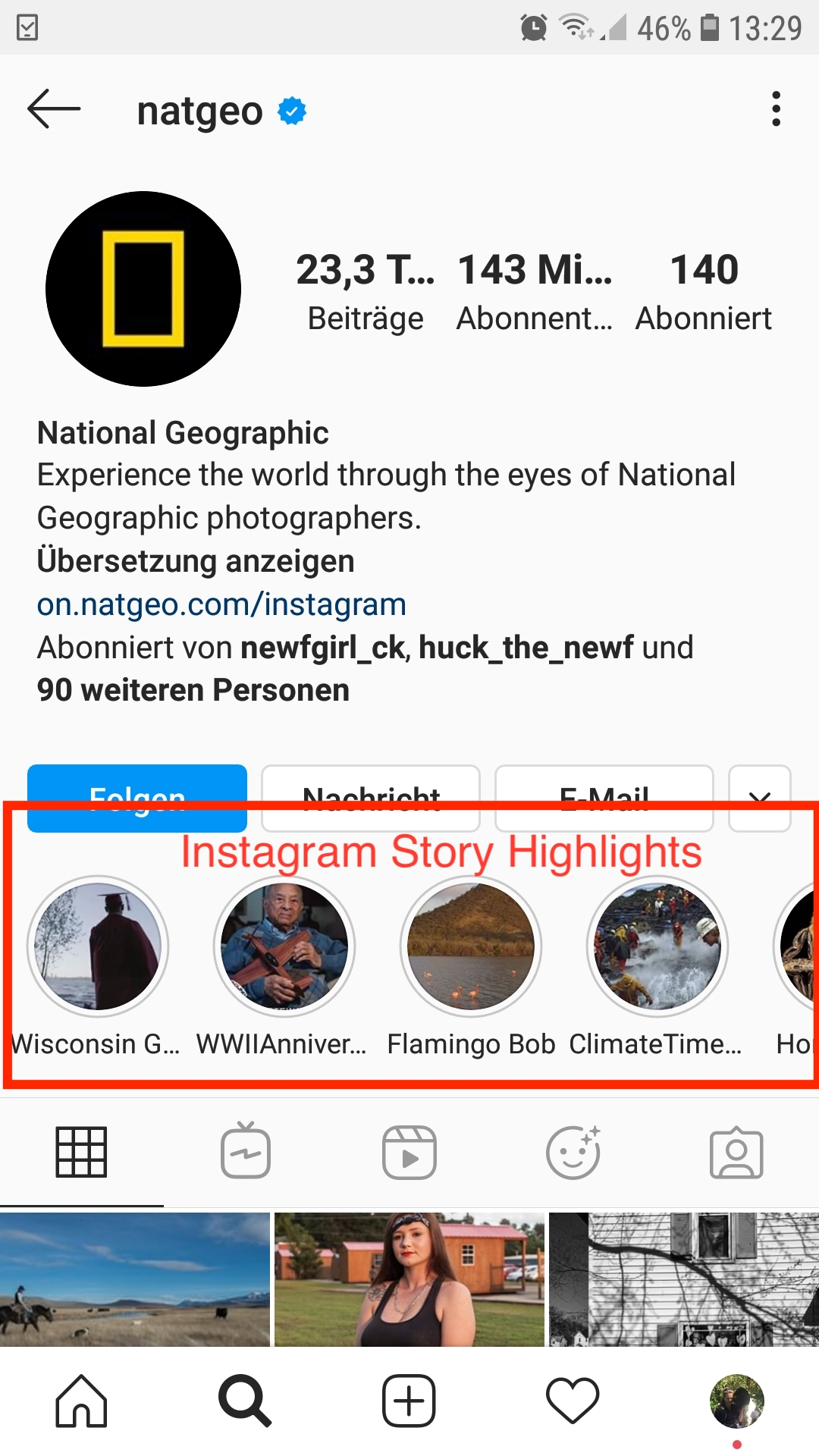 Instagram Story highlight example