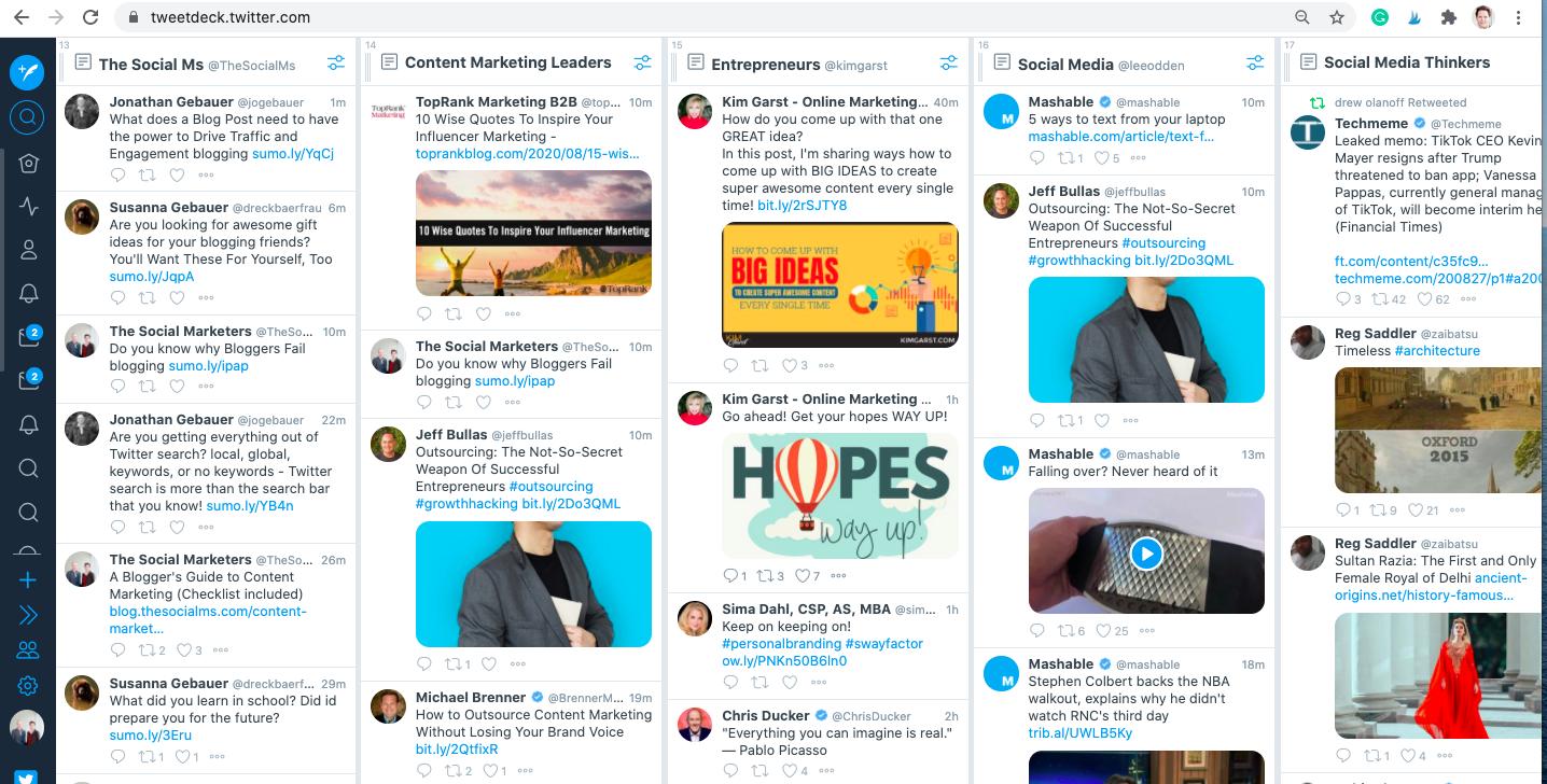 monitor multiple Twitter feeds on tweetdeck