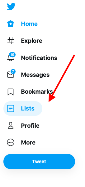 find twitter lists in the sidebar