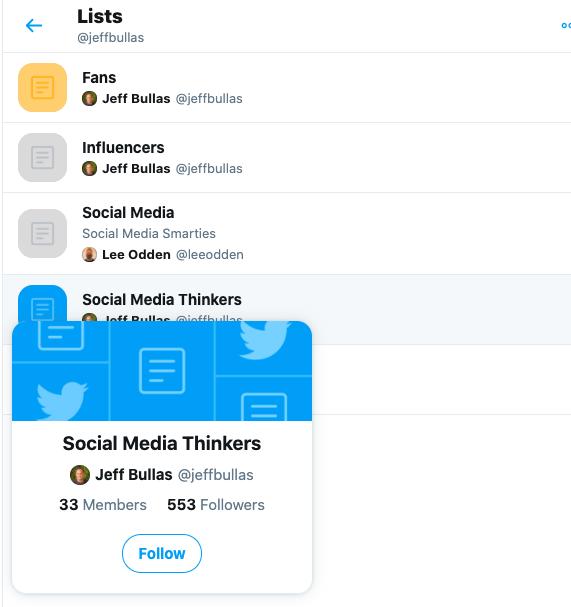 how to follow a twitter list