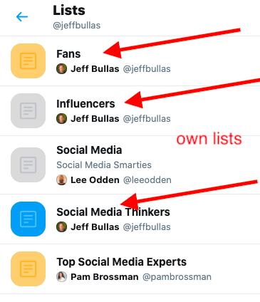 a list of twitter lists