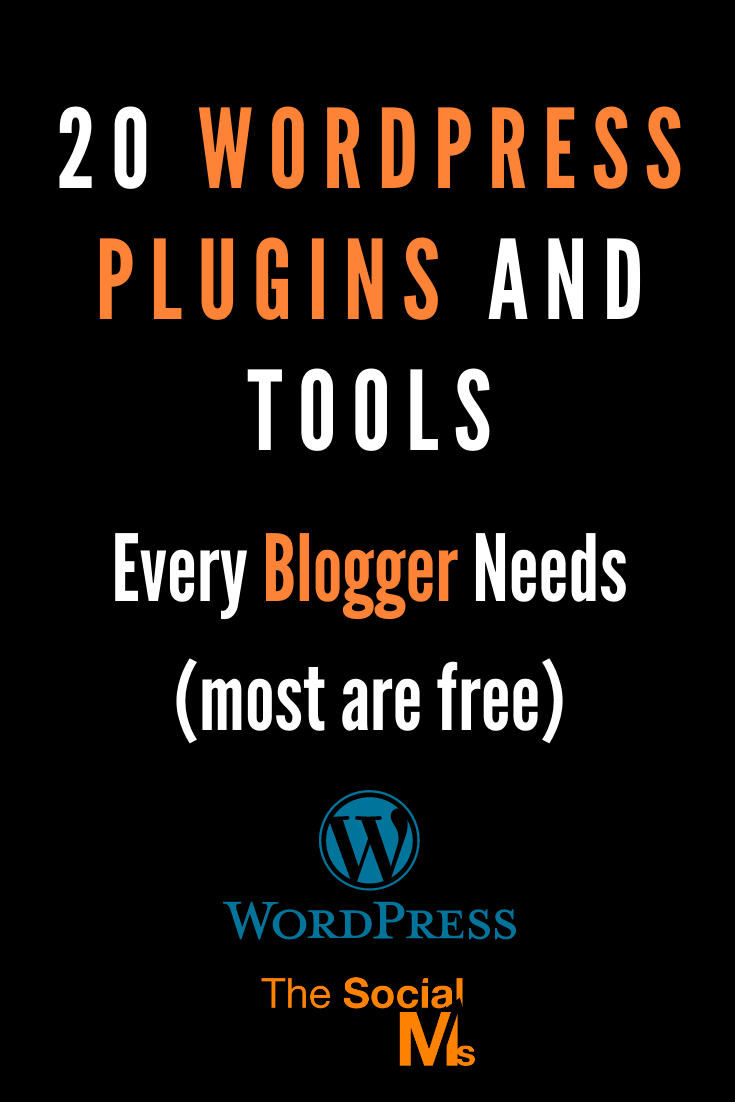 Every blogger needs tools, WordPress plugins, and web services to successfully run a blog. But when you're starting out, it can be hard to actually know which ones you need and which ones you can skip. Here are 20 awesome WordPress Plugins and tools that you need to know - and most of them are even free. #wordpress #wordpressplugins #wordpresstools #bloggingtools #blogging101 #wordpressblog #bloggingforbeginners #blogsetup