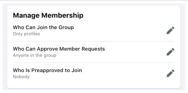 Manage Facebook groups memberships