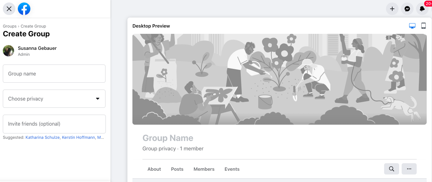 Choose a name for your Facebook group