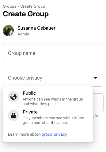 Choose Facebook group privacy