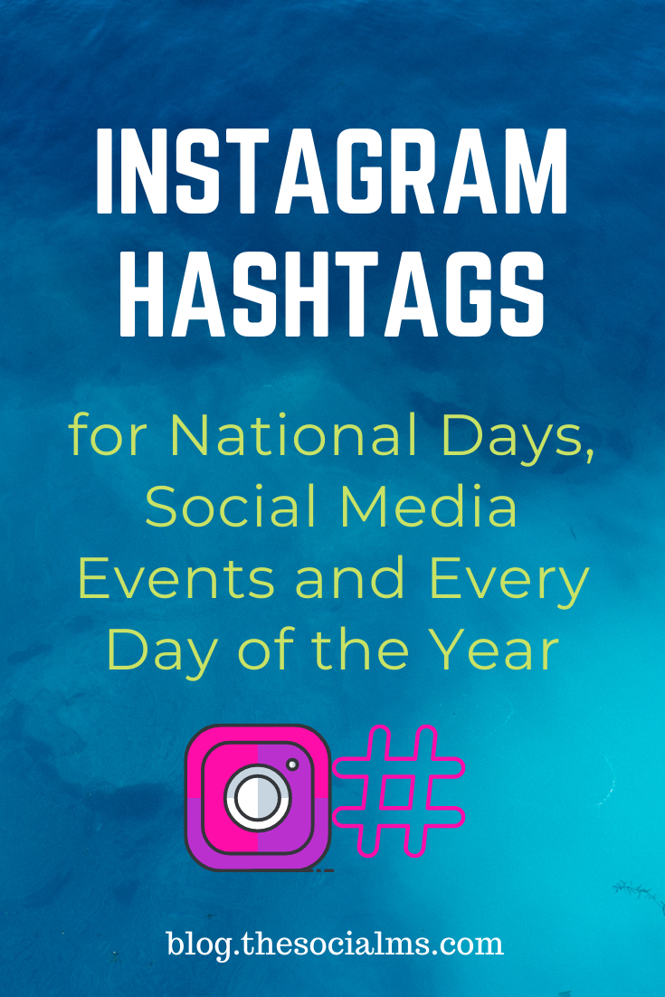 Have you ever noticed these special Instagram hashtags that are celebrated on one day of the year? These fun hashtagsfor social media events, national days and worldwide celebration days? Here is the ultimate list of instagram event hashtags for every day of the year. Have fun! #instagram #instagramtips #instagramhashtags #instagramevents
