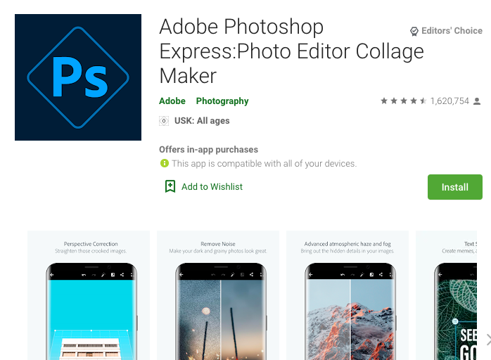 Adobe Photoshop Express App in the Google Play Store
