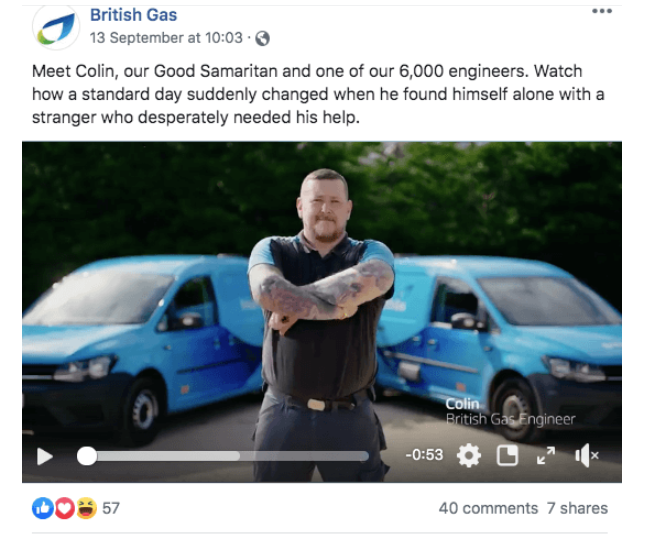 example brand storytelling in social media post