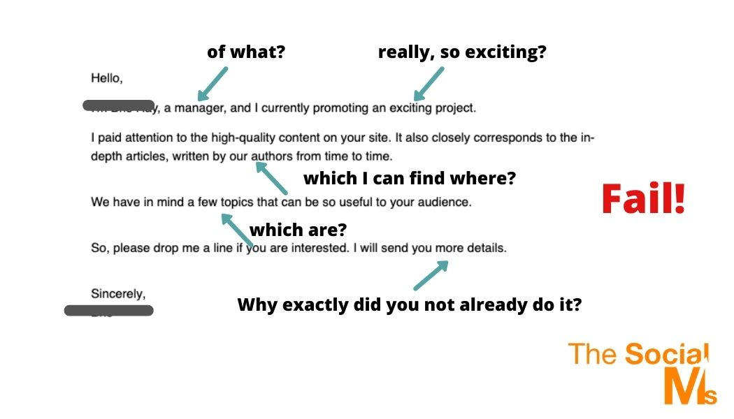 guest blogging outreach email - dont make a secret of it