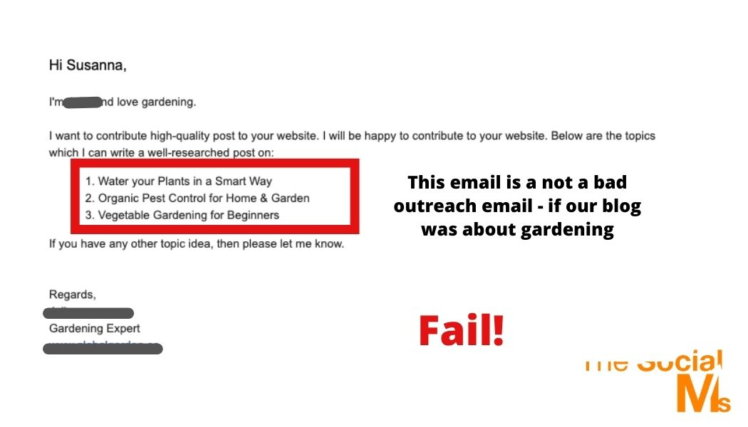 Guest blogging outreach email - wrong topic