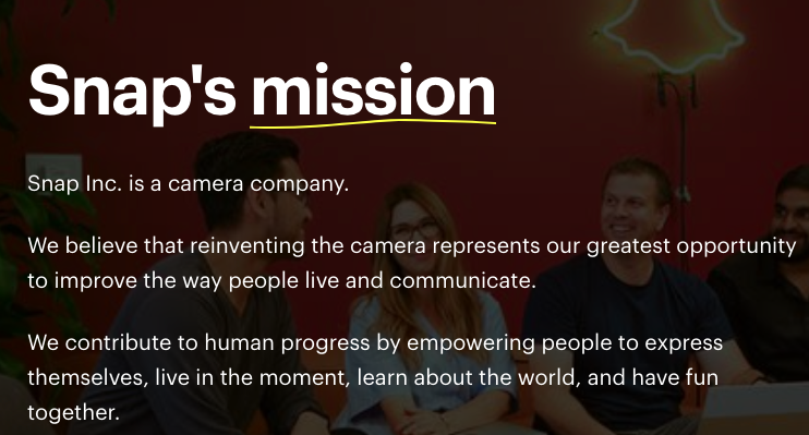 Snap's mission