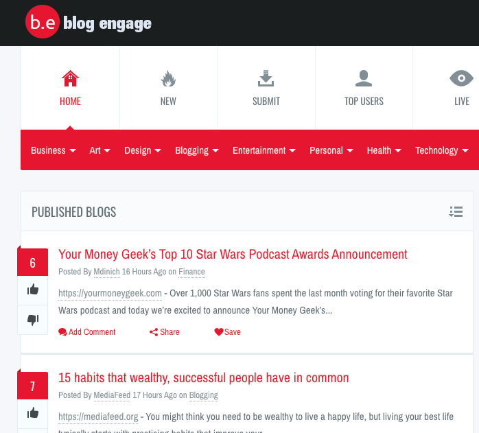 Promote Blog Posts on Blog Engage