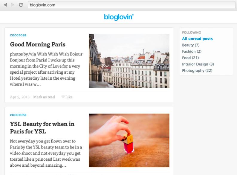 Bloglovin to promote your blog posts