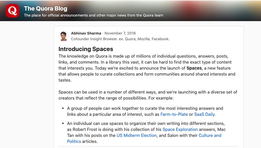 Use Quora Spaces to promote your blog