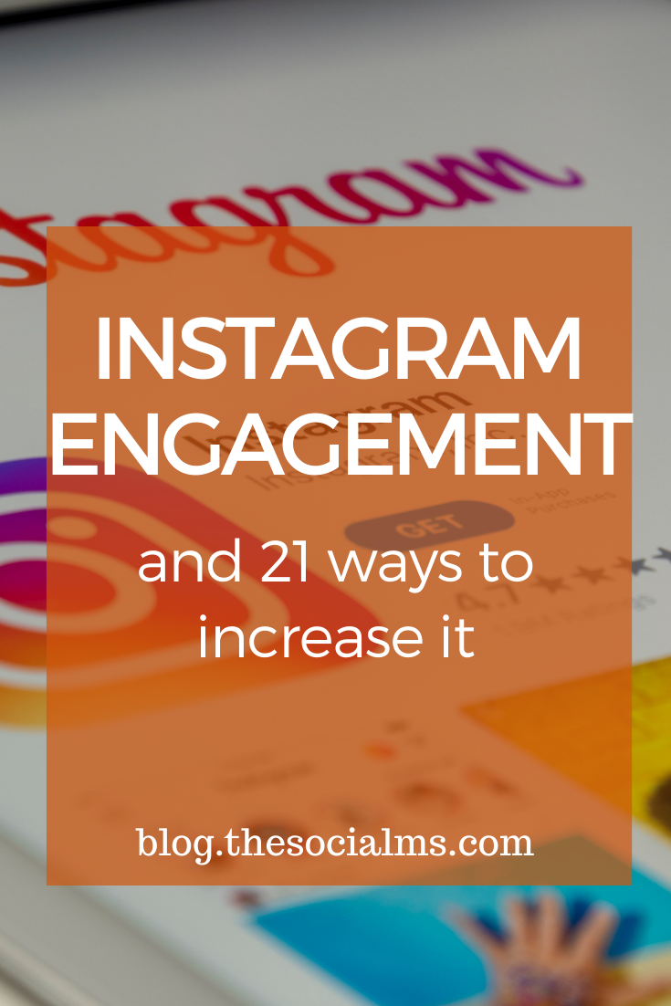 Like most social networks, Instagram uses an algorithm to decide how much reach and visibility an Instagram post gets. One major factor that influences how your Instagram posts are ranked in the Instagram algorithm is the Instagram engagement that you achieve with your activity on Instagram. Here are 21 ideas to increase your instagram engagement. #instagram #instagramtips #instagramengagement #instagrammarketing #instagramsuccess