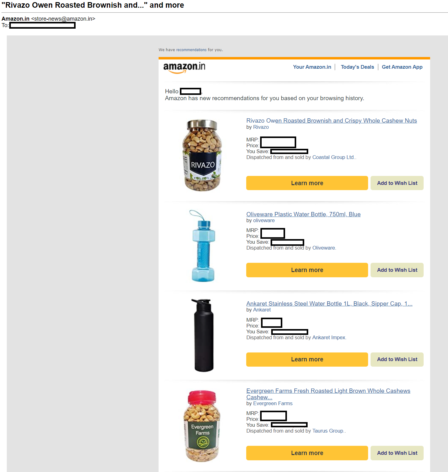 amazon triggered email example